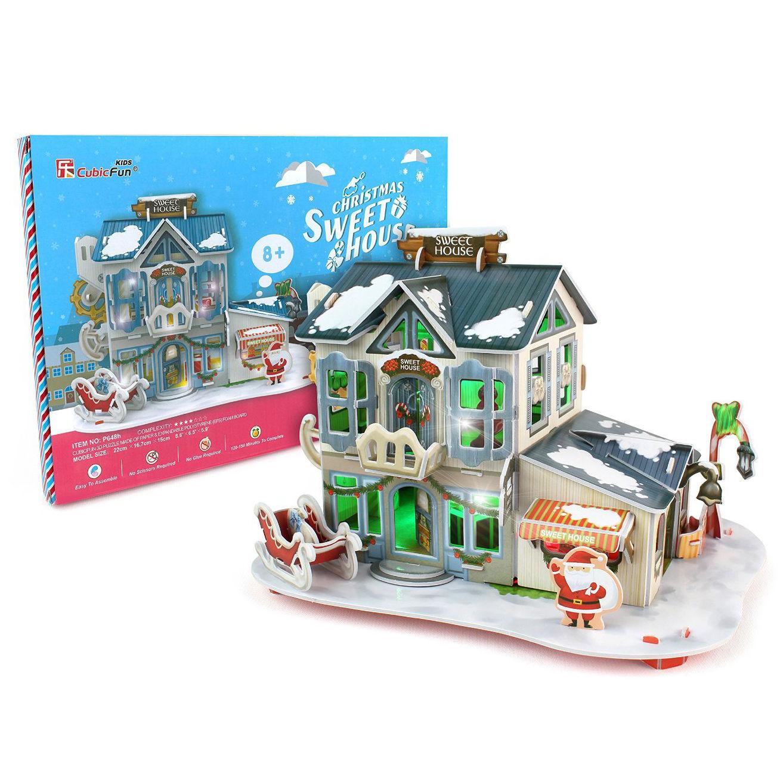 Купить 3D-пазл с подсветкой - Рождественский домик 2, 56 деталей, Cubic Fun