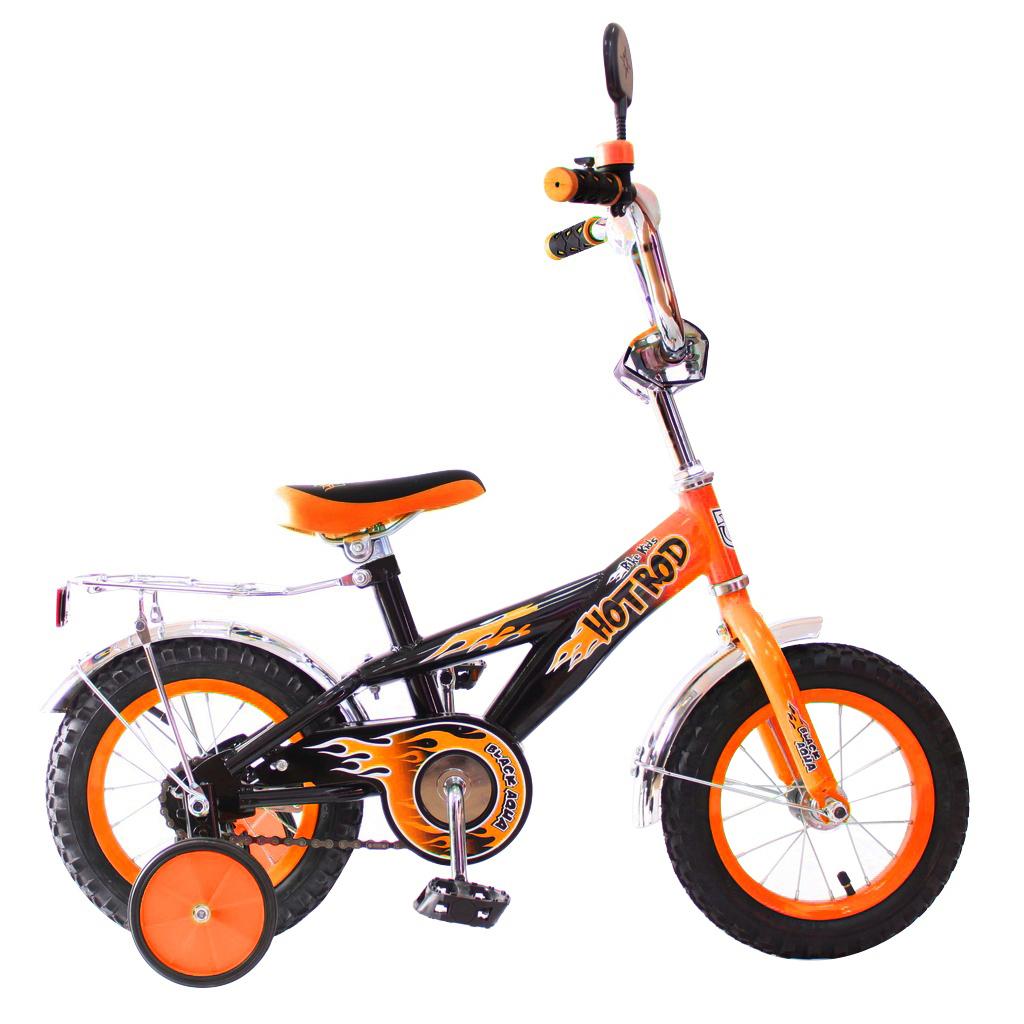 Двухколесный велосипед Hot-Rod, диаметр колес 12 дюймов, оранжевыйВелосипеды детские<br>Двухколесный велосипед Hot-Rod, диаметр колес 12 дюймов, оранжевый<br>