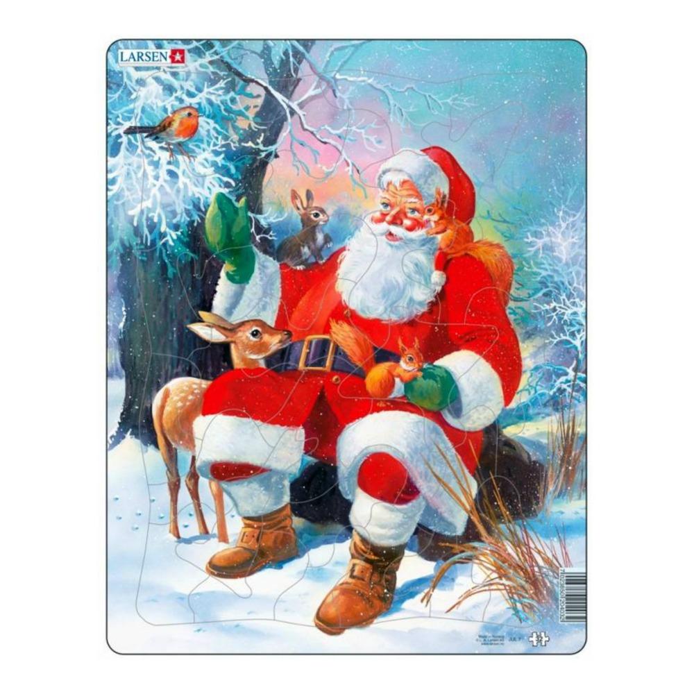 Купить Пазл - Санта с животными, 32 детали, Larsen
