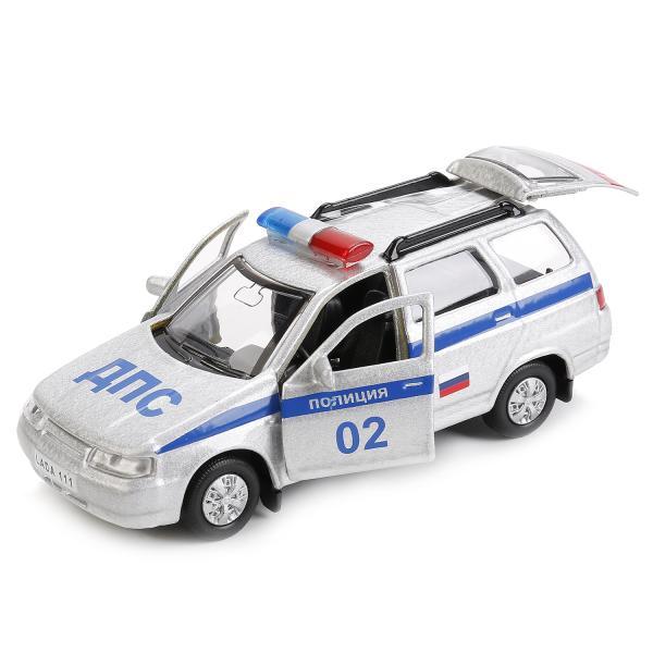 Купить Машина металлическая Лада 111 Полиция инерционная 12 см, открываются двери и багажник, Технопарк