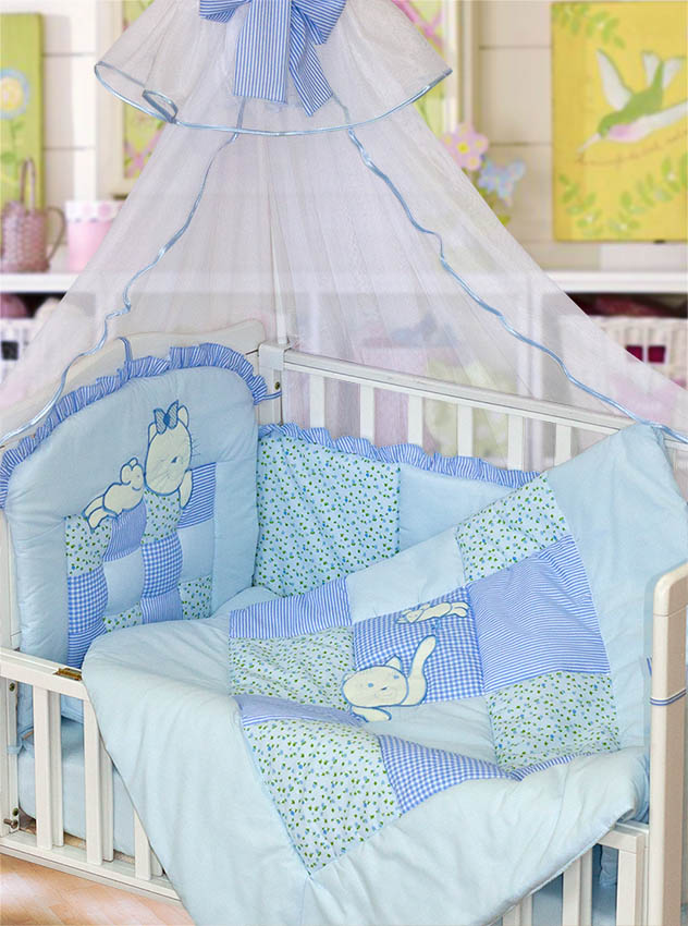 Комплект - Кошки-мышки, голубойДетское постельное белье<br>Комплект - Кошки-мышки, голубой<br>