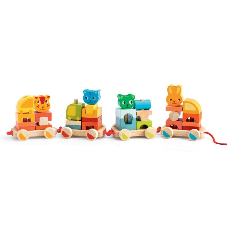Конструктор-каталка Маленький паровозикДеревянный конструктор<br>Конструктор-каталка Маленький паровозик<br>
