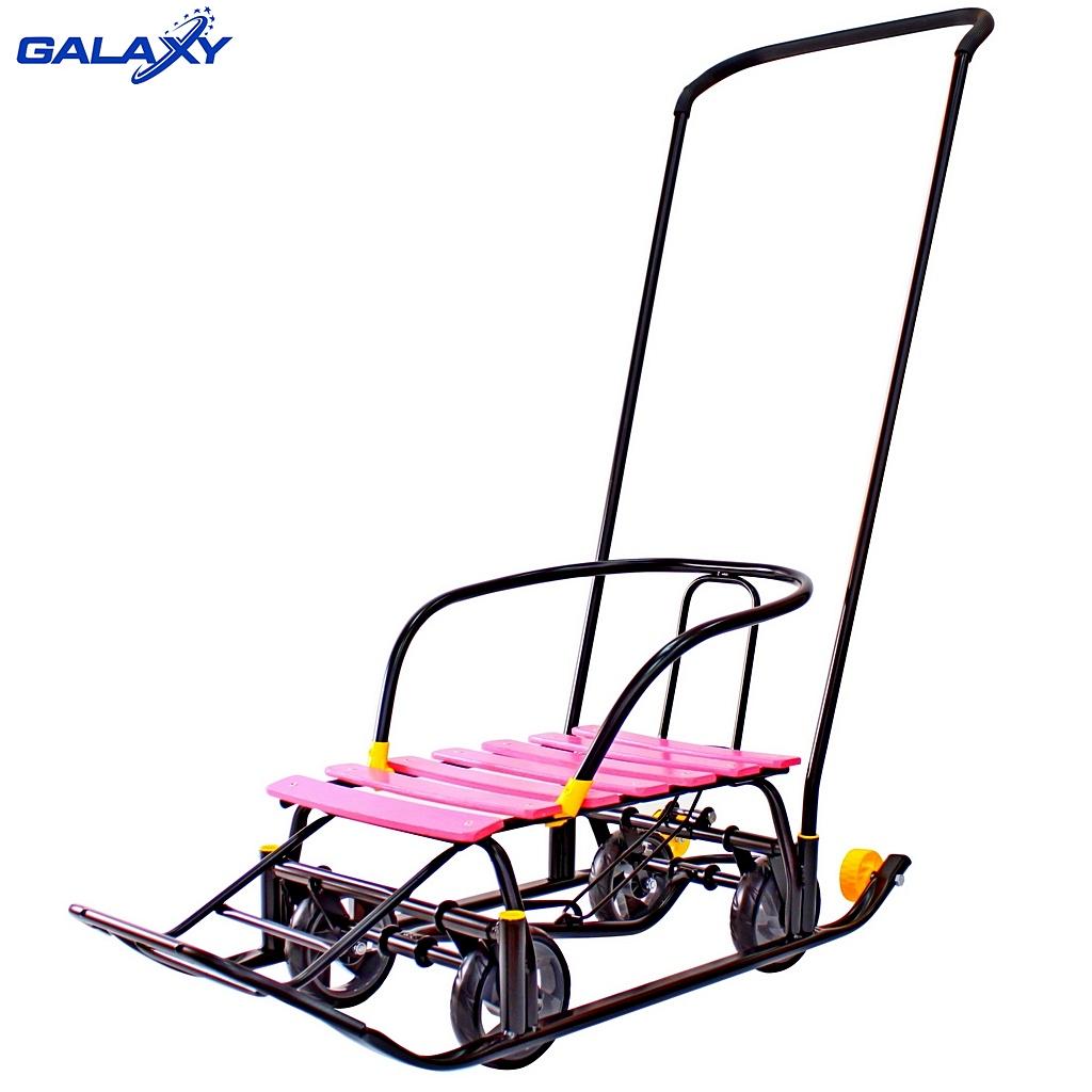 Снегомобиль Snow Galaxy Black Auto, розовые рейки на больших мягких колесахСанки и сани-коляски<br>Снегомобиль Snow Galaxy Black Auto, розовые рейки на больших мягких колесах<br>