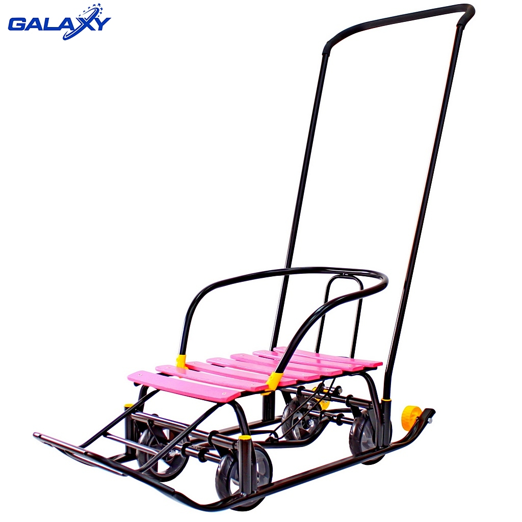 Купить Снегомобиль Snow Galaxy Black Auto, розовые рейки на больших мягких колесах, Kid Galaxy