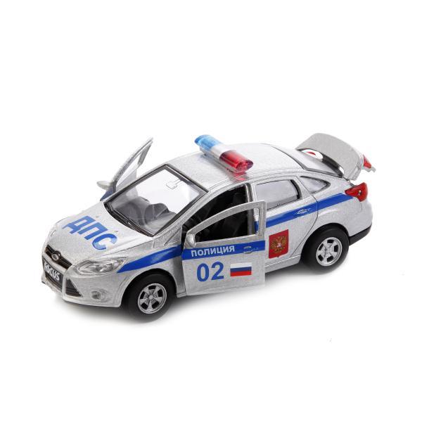 Купить Машина металлическая инерционная – Форд Фокус Полиция, 12 см, открываются двери, несколько цветов, Технопарк