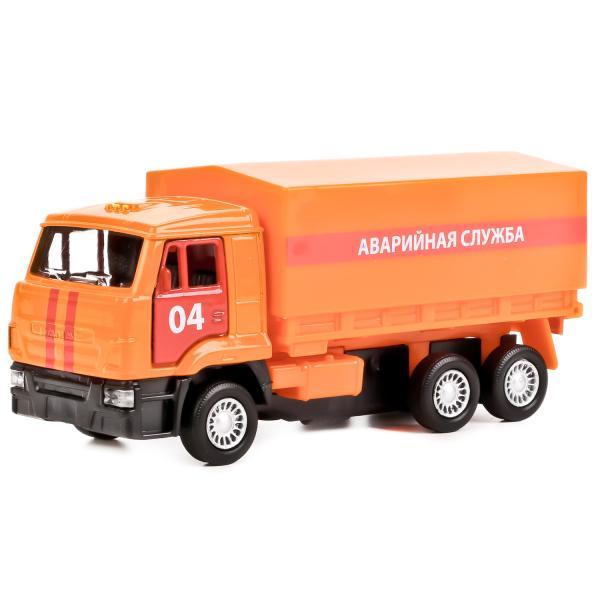 Купить Инерционная машина - Бортовой Камаз 65207 - Аварийная служба, 12 см, со съемным тентом, Технопарк