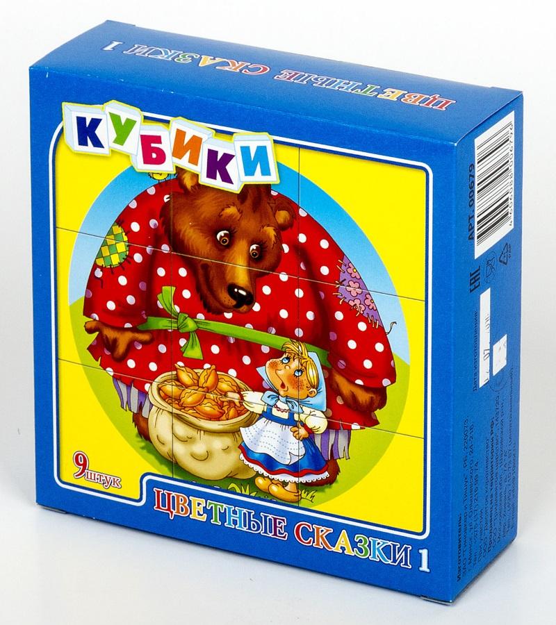 Кубики - Цветные сказки-1, 9 штукКубики<br>Кубики - Цветные сказки-1, 9 штук<br>