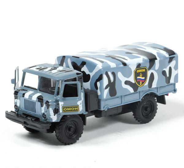 Машина металлическая инерционная - ГАЗ 66 - ОМОН, со светом и звуком, 1:43Грузовые модели<br>Машина металлическая инерционная - ГАЗ 66 - ОМОН, со светом и звуком, 1:43<br>