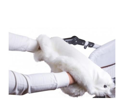 Купить Муфта для рук на коляску, ткань белая/мех белый, Moze