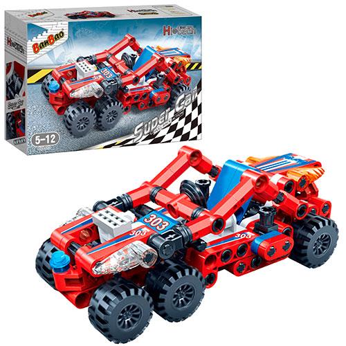 Конструктор - Гоночная машина, красная, 128 деталейКонструкторы BANBAO<br>Конструктор - Гоночная машина, красная, 128 деталей<br>