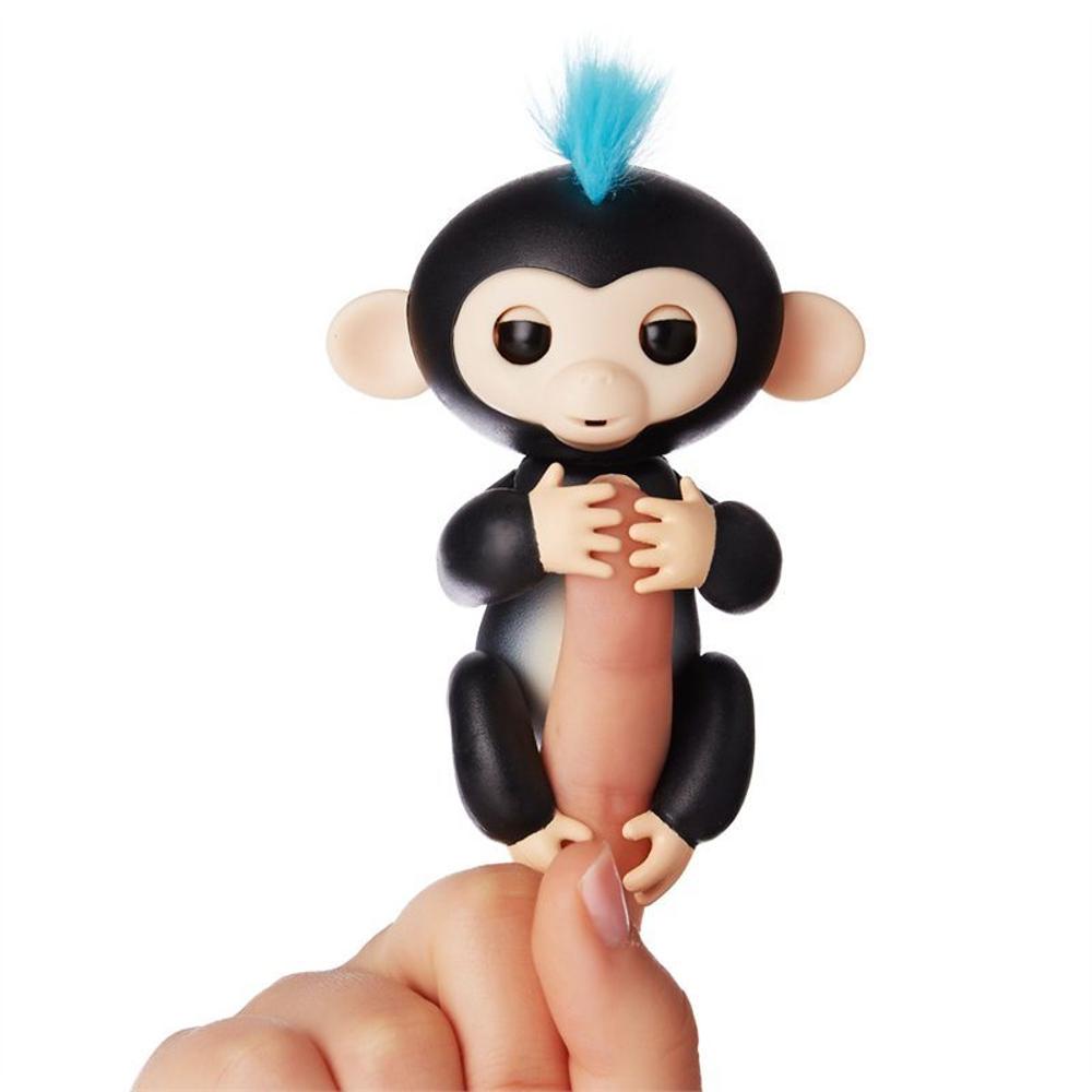 Интерактивная ручная обезьянка Fingerlings WowWee – Финн, черная, 12 см.