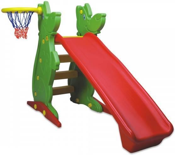 Пластиковая горка с баскетбольным кольцом, 122 см.Детские игровые горки<br>Пластиковая горка с баскетбольным кольцом, 122 см.<br>