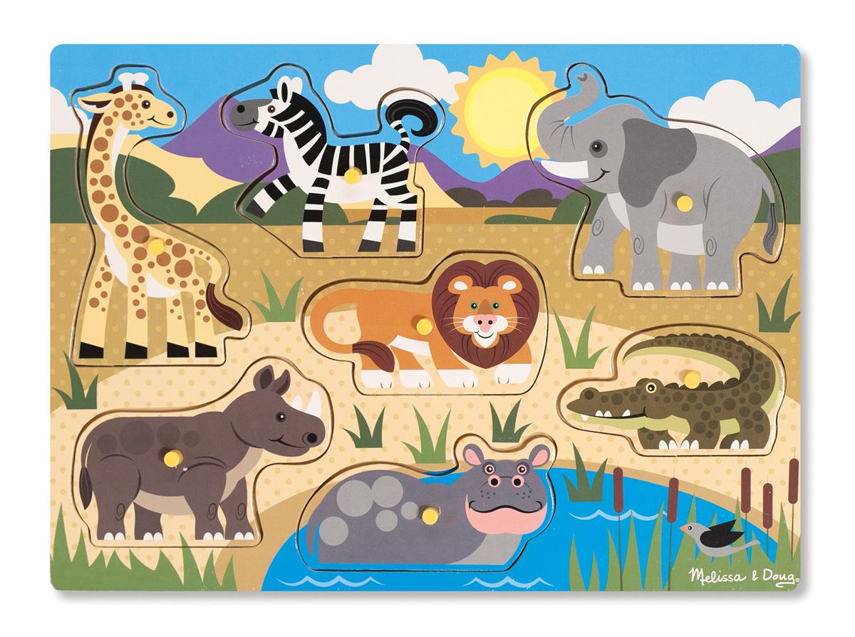 Мои первые пазлы – Сафари, 7 деталей с кнопкамиПазлы для малышей<br>Мои первые пазлы – Сафари, 7 деталей с кнопками<br>