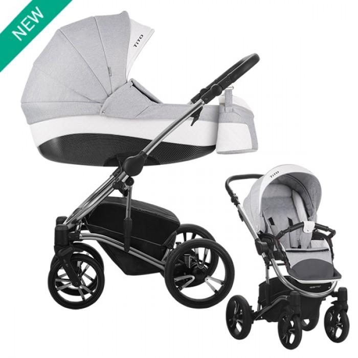 Купить Детская коляска Tito premium Class 2 в 1, серая, шасси хромированная, Bebetto