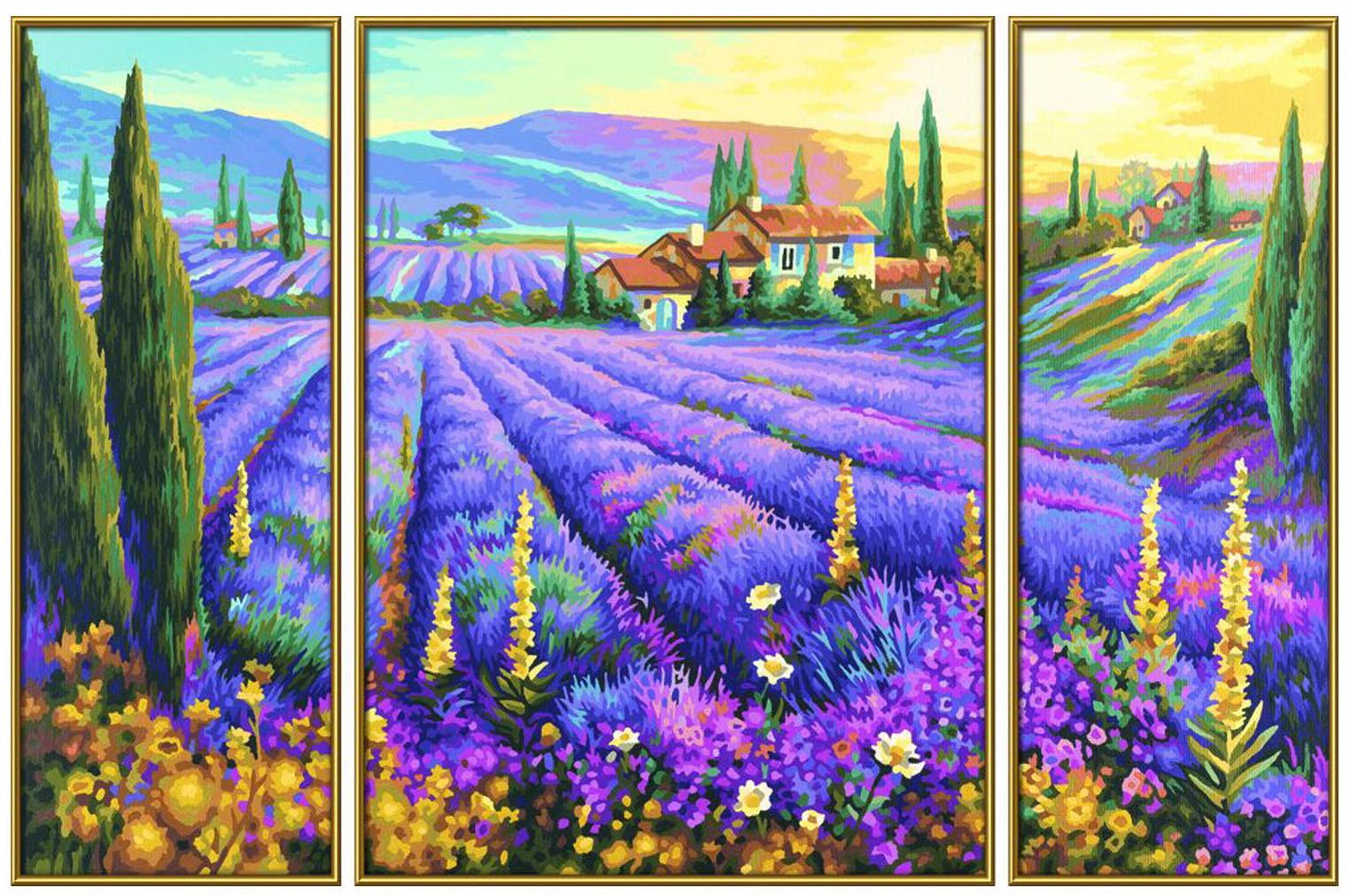 Раскраска по цифрам Триптих: Лавандовые поляРаскраски по номерам Schipper<br>Раскраска по цифрам Триптих: Лавандовые поля<br>