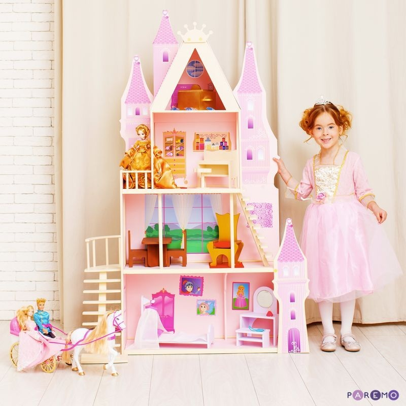 Купить Кукольный дворец - Розовый сапфир, с 16 предметами мебели и текстилем, Paremo