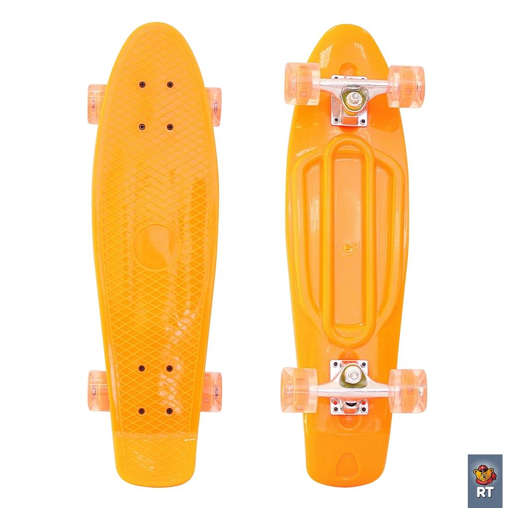 """RT 146315 Скейтборд Classic 26"""" - YWHJ-28 со светящимися колесами, оранжевый"""