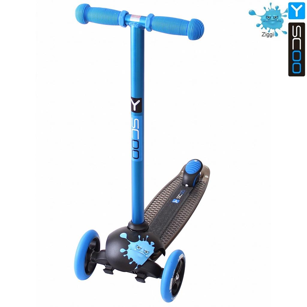 Купить Самокат трехколесный Y-Scoo RT Trio Diamond 120 Monsters, 1 высота, с блокировкой колес, цвет Ziggi голубой