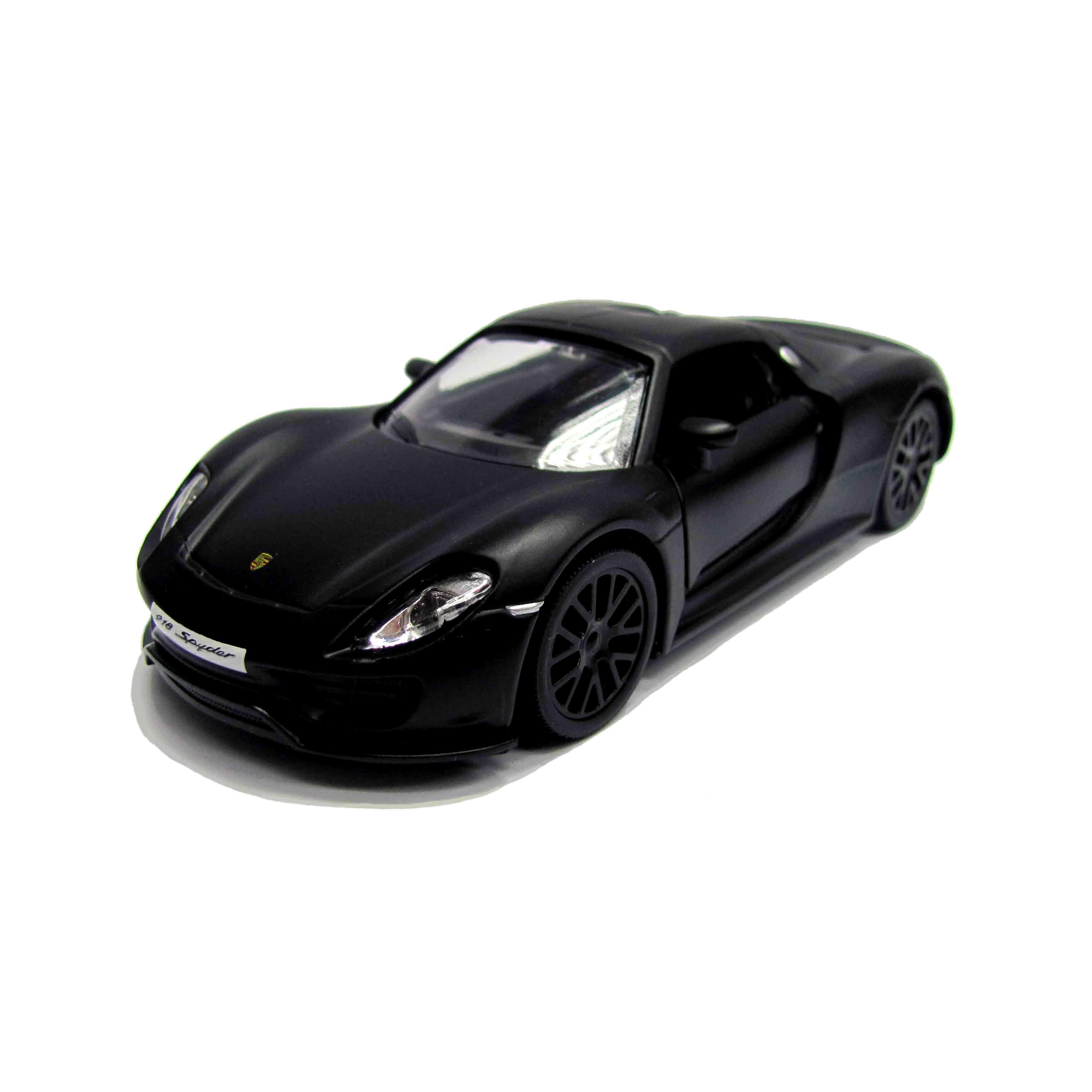 Металлическая инерционная машина RMZ City - Porsche 918 Spyder, 1:32, черный матовыйPorsche<br>Металлическая инерционная машина RMZ City - Porsche 918 Spyder, 1:32, черный матовый<br>