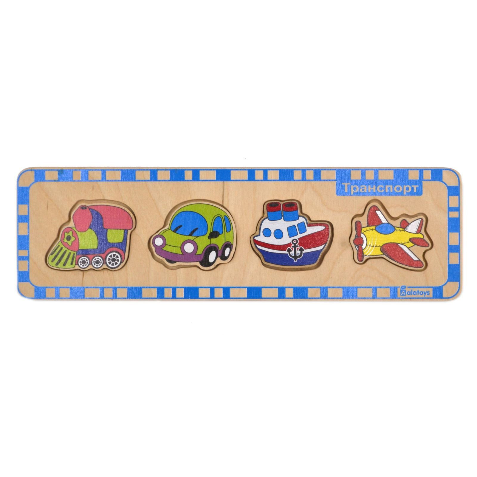 Пазл деревянный для малышей – ТранспортРамки и паззлы<br>Пазл деревянный для малышей – Транспорт<br>