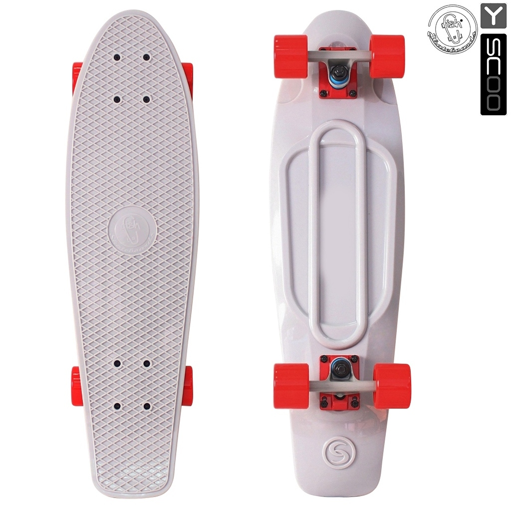 Скейтборд виниловый Y-Scoo Big Fishskateboard 27  402-Gr с сумкой, серо-красный - Детские скейтборды, артикул: 153174