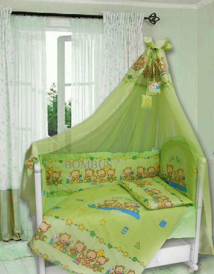 Комплект в кроватку - Давай поиграем, 7 предметов, зелёныйДетское постельное белье<br>Комплект в кроватку - Давай поиграем, 7 предметов, зелёный<br>