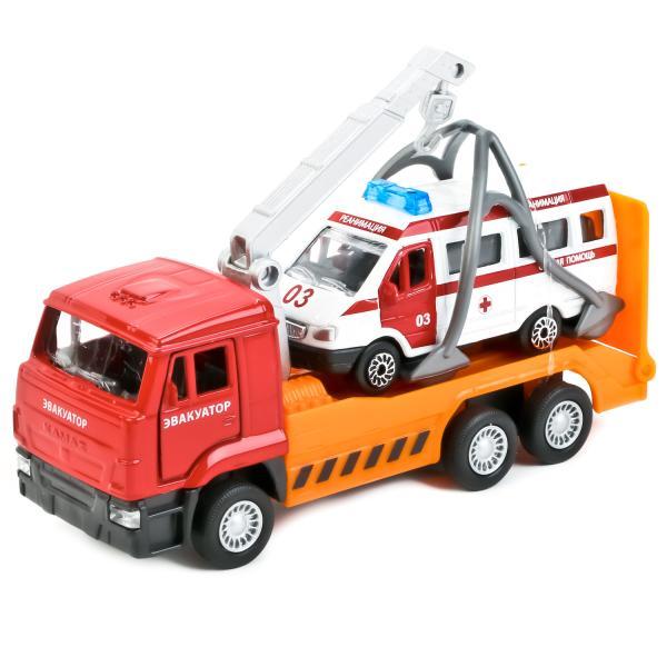 Купить Металлическая инерционная машина - Камаз эвакуатор, 12 см и Газель скорая 7, 5 см, Технопарк