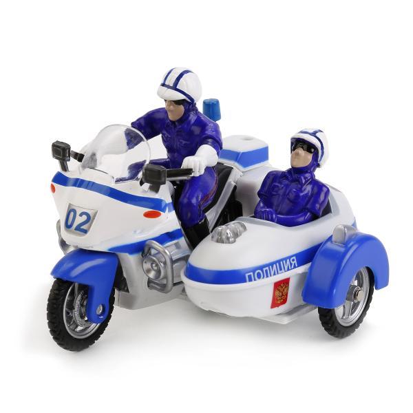 Металлический инерционный мотоцикл - Полиция, с люлькой и 2-я фигурками - свет, звукМотоциклы<br>Металлический инерционный мотоцикл - Полиция, с люлькой и 2-я фигурками - свет, звук<br>