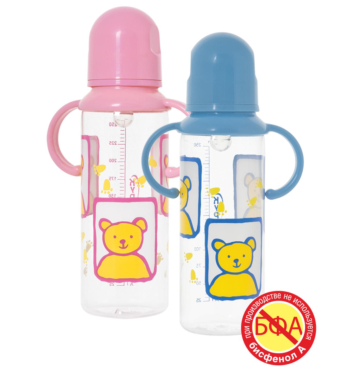 Бутылочка с ручками и силиконовой соской, 250 млТовары для кормления<br>Бутылочка с ручками и силиконовой соской, 250 мл<br>