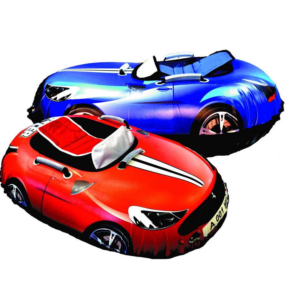 Тюбинг-ватрушка в виде овальной машины Snow car, диаметр 120 /87 см., с камерой R16, несколько цветовВатрушки и ледянки<br>Тюбинг-ватрушка в виде овальной машины Snow car, диаметр 120 /87 см., с камерой R16, несколько цветов<br>