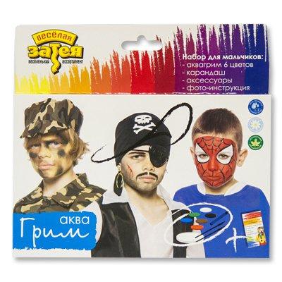Грим Аква для мальчиков, 6 цветов, карандаш, аксессуары фото