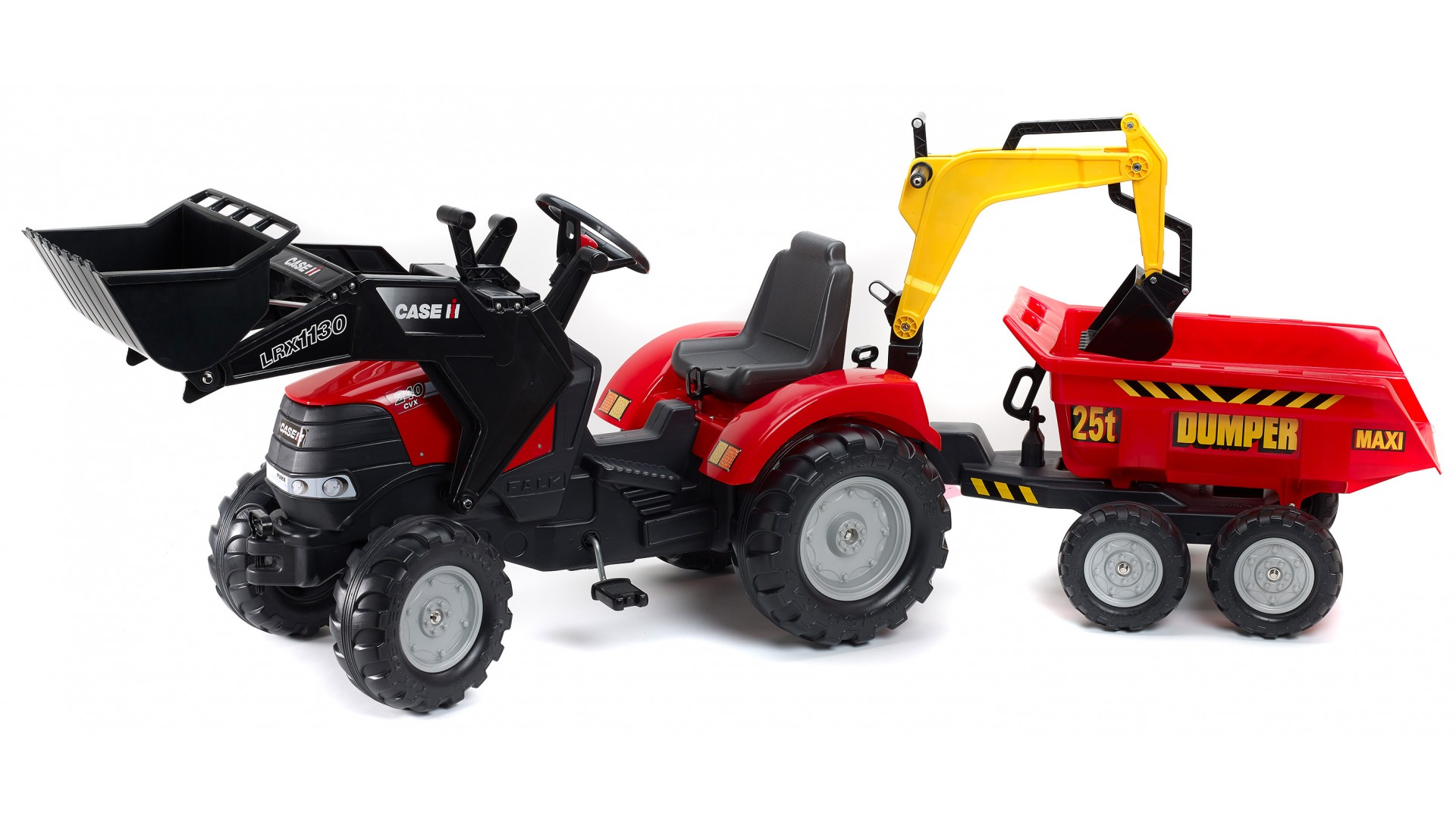 Трактор педальный с ковшом и прицепом красный 225 см.