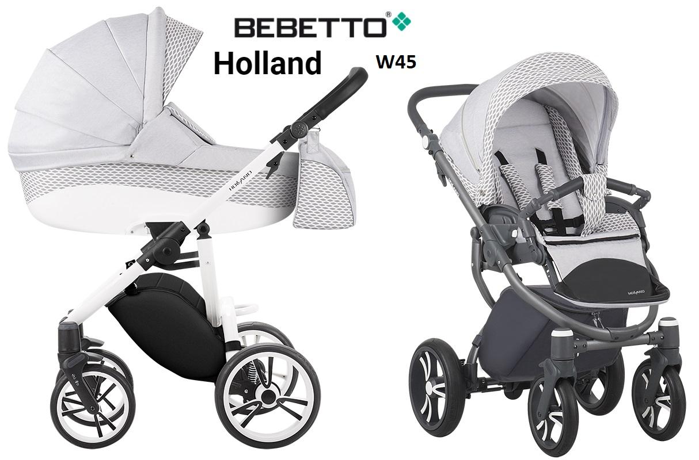 Купить Детская коляска Bebetto Holland New 2 в 1, шасси белый/Bia, цвет - W45