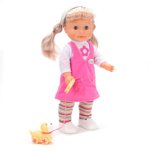 Кукла, 40 см., 3 функции, ходит, поет, знает стихи, есть щенокКуклы Карапуз<br>Кукла, 40 см., 3 функции, ходит, поет, знает стихи, есть щенок<br>