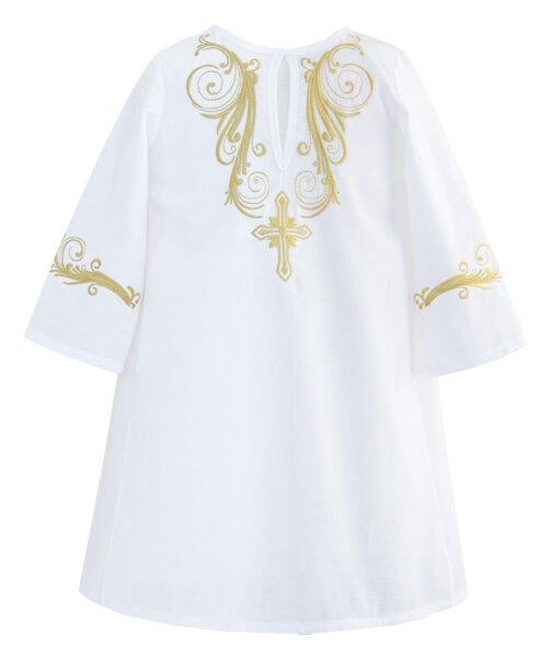 Крестильная рубашка с вышивкой золотом – модель 2