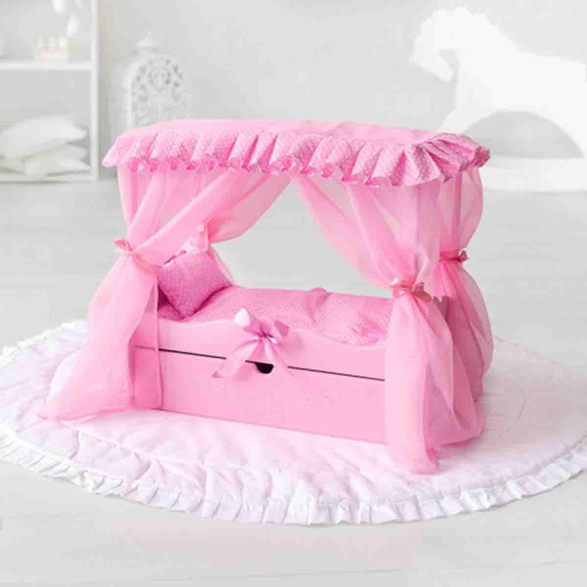 Купить Кровать с выдвижным ящиком для кукол с постельным бельем и балдахином, розовый, Paremo