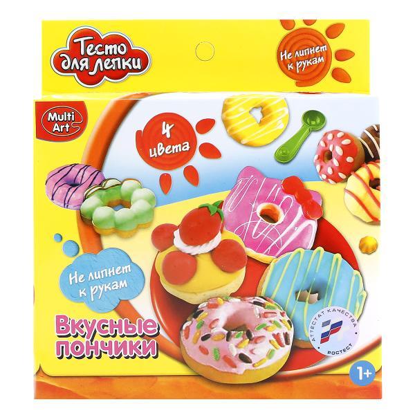 Тесто для лепки - Вкусные пончики, 4 цветаНаборы для лепки<br>Тесто для лепки - Вкусные пончики, 4 цвета<br>