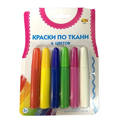 Краски по ткани - 6 цветов в наборе с кисточкойКраски<br>Краски по ткани - 6 цветов в наборе с кисточкой<br>