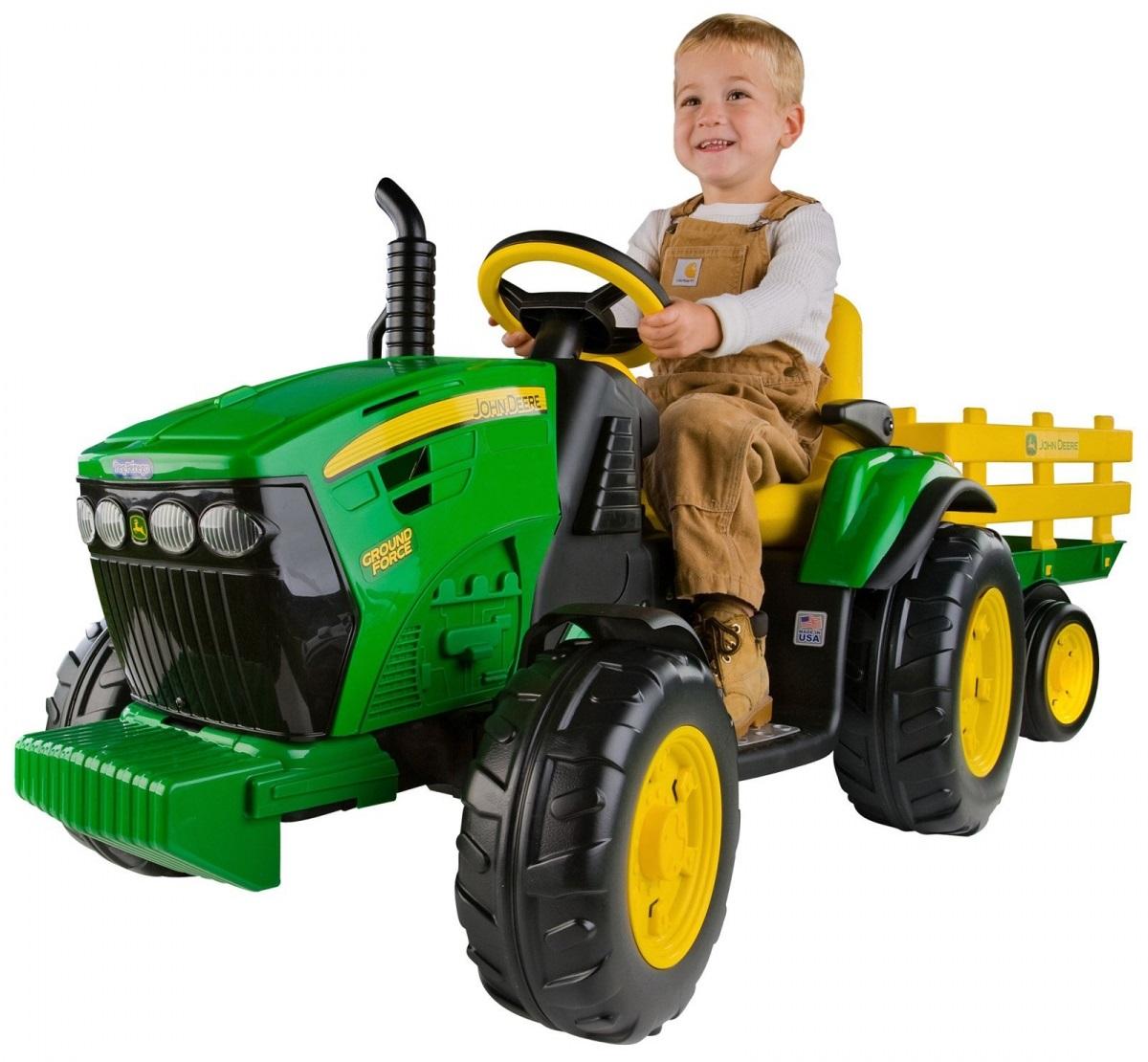 Электроприводной трактор Peg-Perego JD Ground Force trailer OR0047 - Детские квадроциклы на аккумуляторе, артикул: 97321