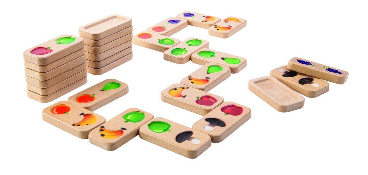 Купить Деревянная игра – Домино. Фрукты и овощи, Plan Toys