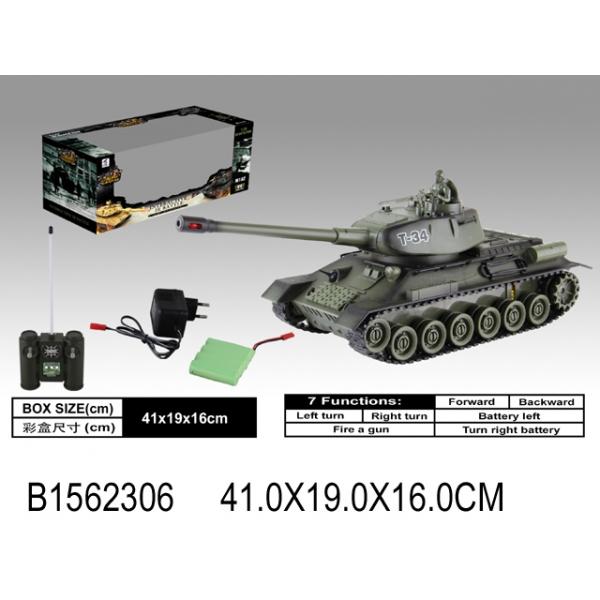 картинка Танк на радиоуправлении с аккумулятором, светом и звуком, usb зарядным устройством и аксессуарами от магазина Bebikam.ru