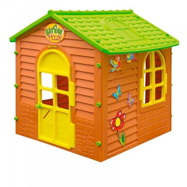 Детский малый игровой домик, коричневый с зеленой крышейПластиковые домики для дачи<br>Детский малый игровой домик, коричневый с зеленой крышей<br>