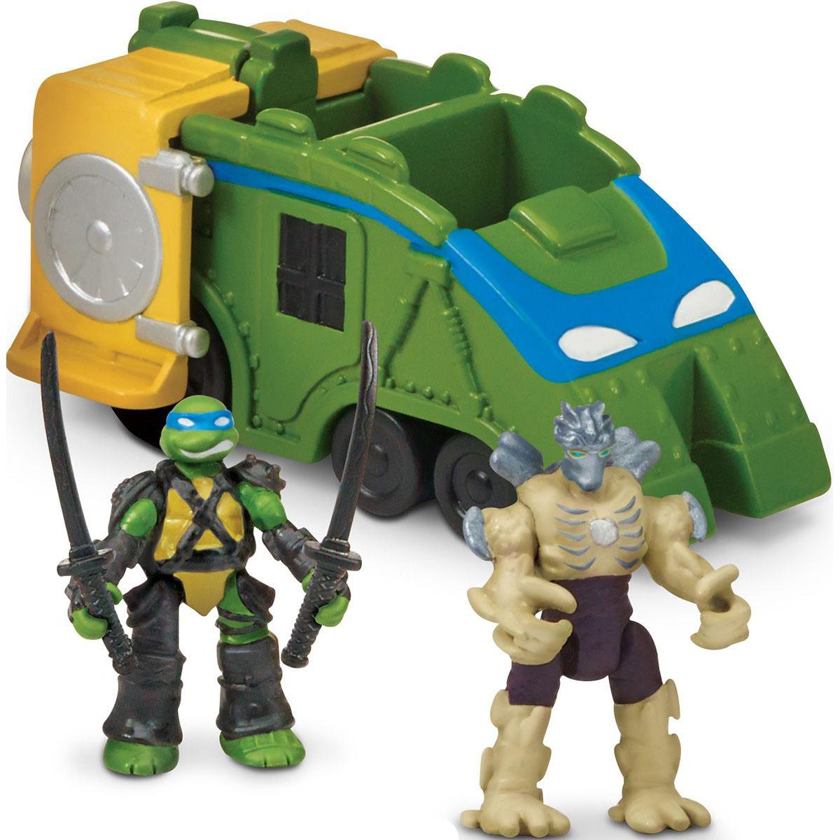 Игровой микронабор - Боевой локомотив Черепашек-ниндзя с фигурками Лео и Шредера, Playmates  - купить со скидкой
