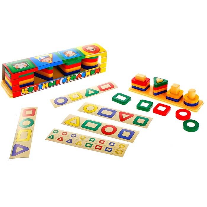 Игра - Цветные столбикиСортеры, пирамидки<br>Игра - Цветные столбики<br>