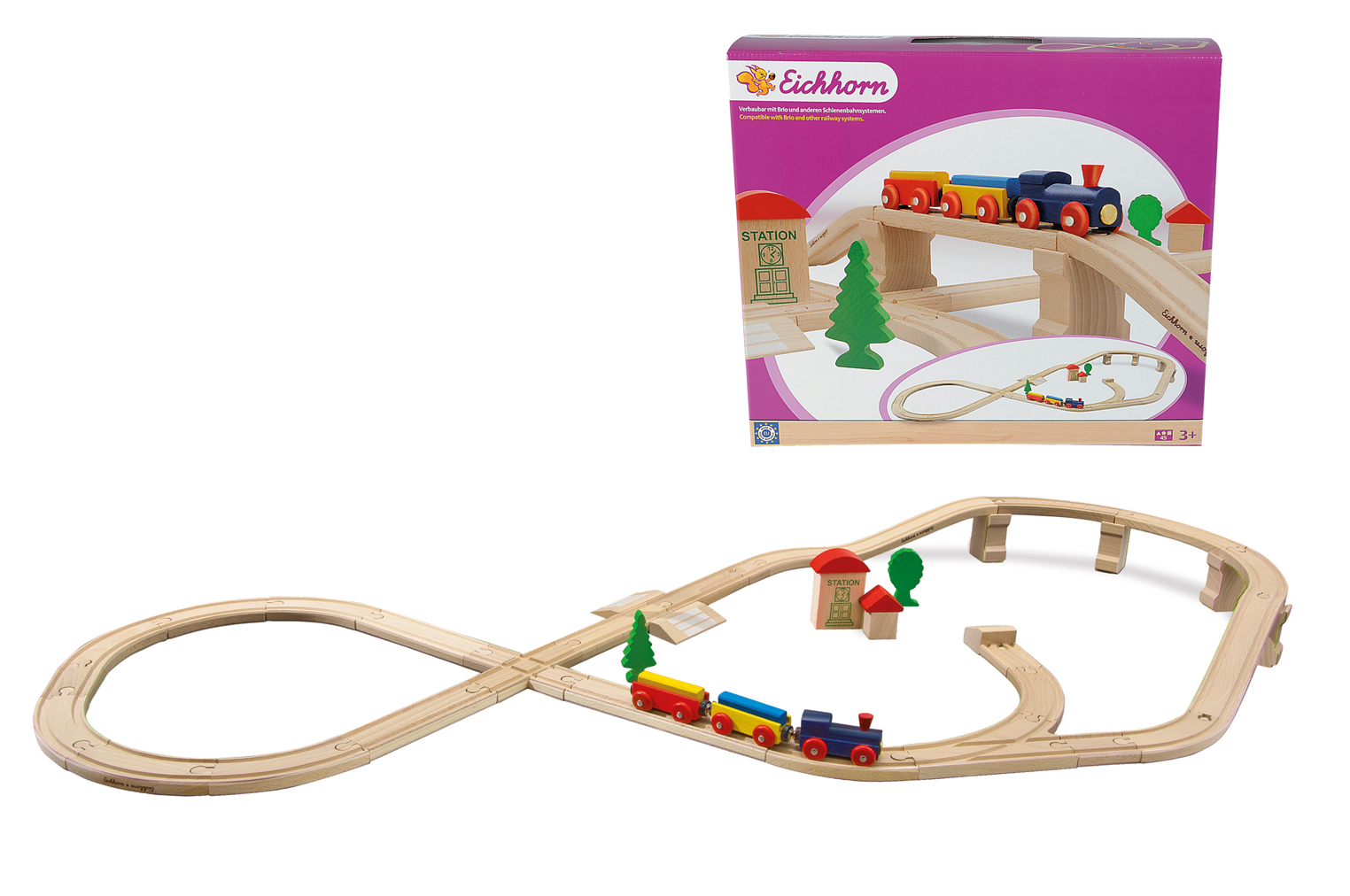Набор деревянной железной дороги с мостом и тупиком