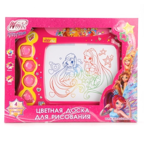 Доска для рисования «Винкс» магнитная, цветная с аксессуарамиМольберты<br>Доска для рисования «Винкс» магнитная, цветная с аксессуарами<br>