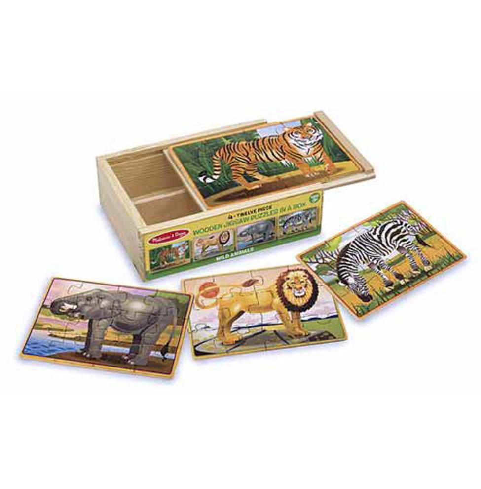 Купить Деревянные пазлы в коробке - Дикие животные, Melissa&Doug