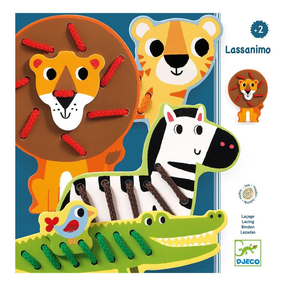 Купить Деревянная шнуровка - Дикие животные, 4 фигурки, Djeco