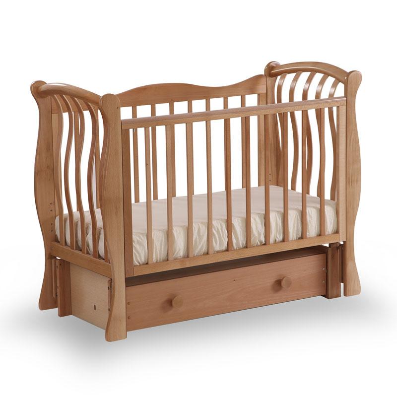 Детская кровать Лель БИ 07.3 Ландыш маятник продольный, натуральный бук