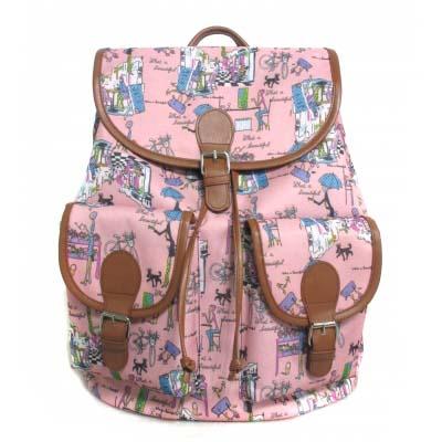 Купить Рюкзак с 2 карманами – Модница, розовый, Аверс